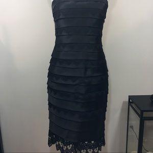 Carmen Marc Valvo Silk Tiered Lace Dress